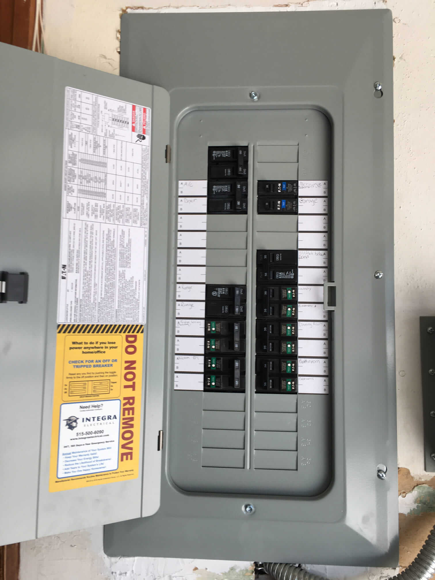 After a Electrical Service upgrade in Indianola